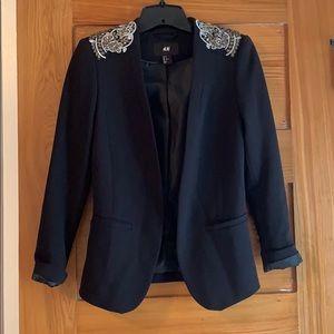 Black blazer with beaded shoulder sz 2